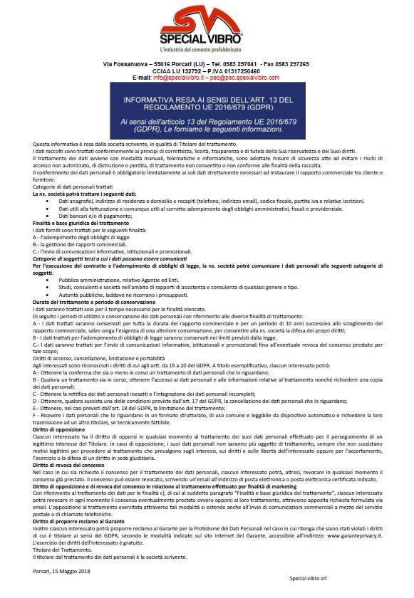 NFORMATIVA PRIVACY CLIENTI FORNITORI